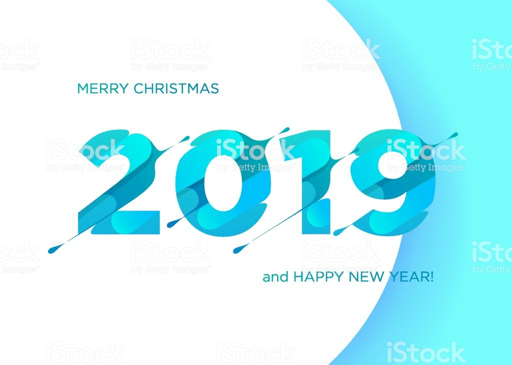 2019 Vector Numbers Merry Christmas And Happy New Year Background 1024x731