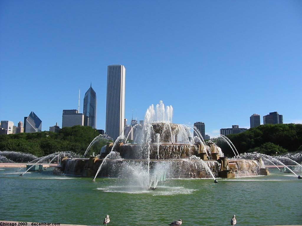 desktop wallpaper Buckingham Fountain Chicago 1024x768
