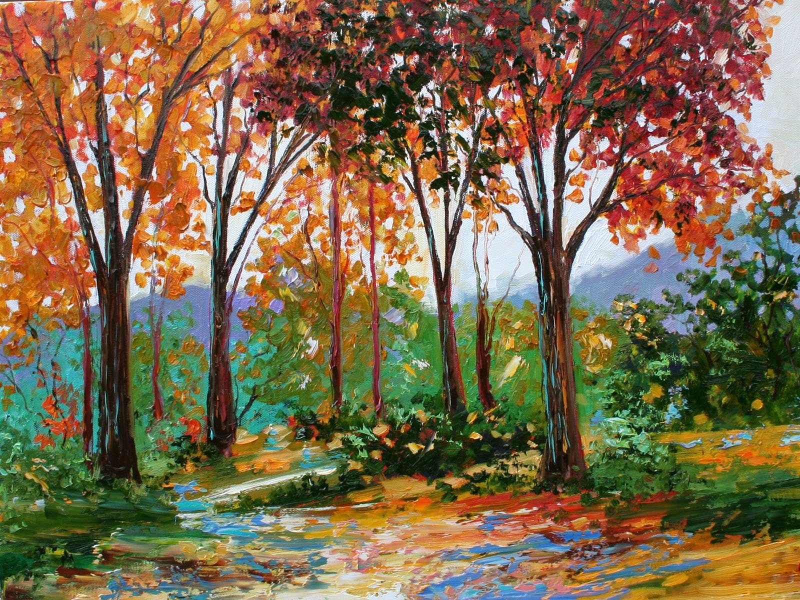 wallpapers Autumn Oil Paintings 1600x1200