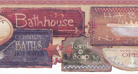 Bathroom Signs Wallpaper Border   Wallpaper Border Wallpaper inc 525x283