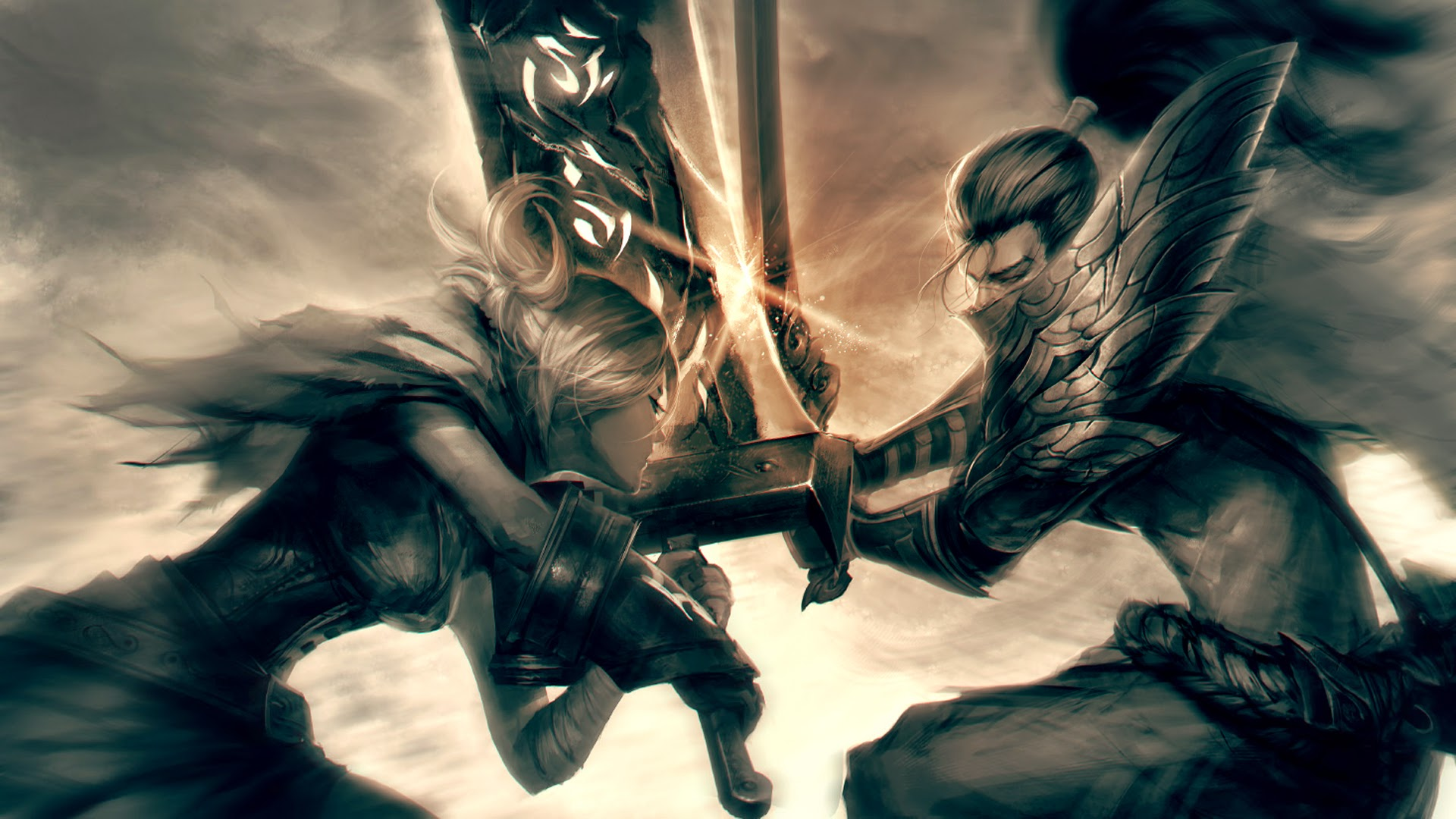 riven vs yasuo clash fighting league of legends hd wallpaper lol ...