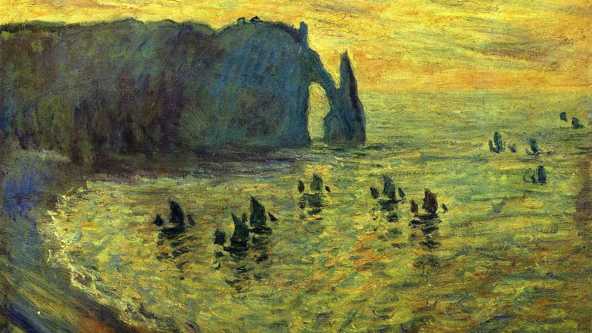 cliffs sailboats claude monet cove impressionism wallpaper 44325 1920x1080