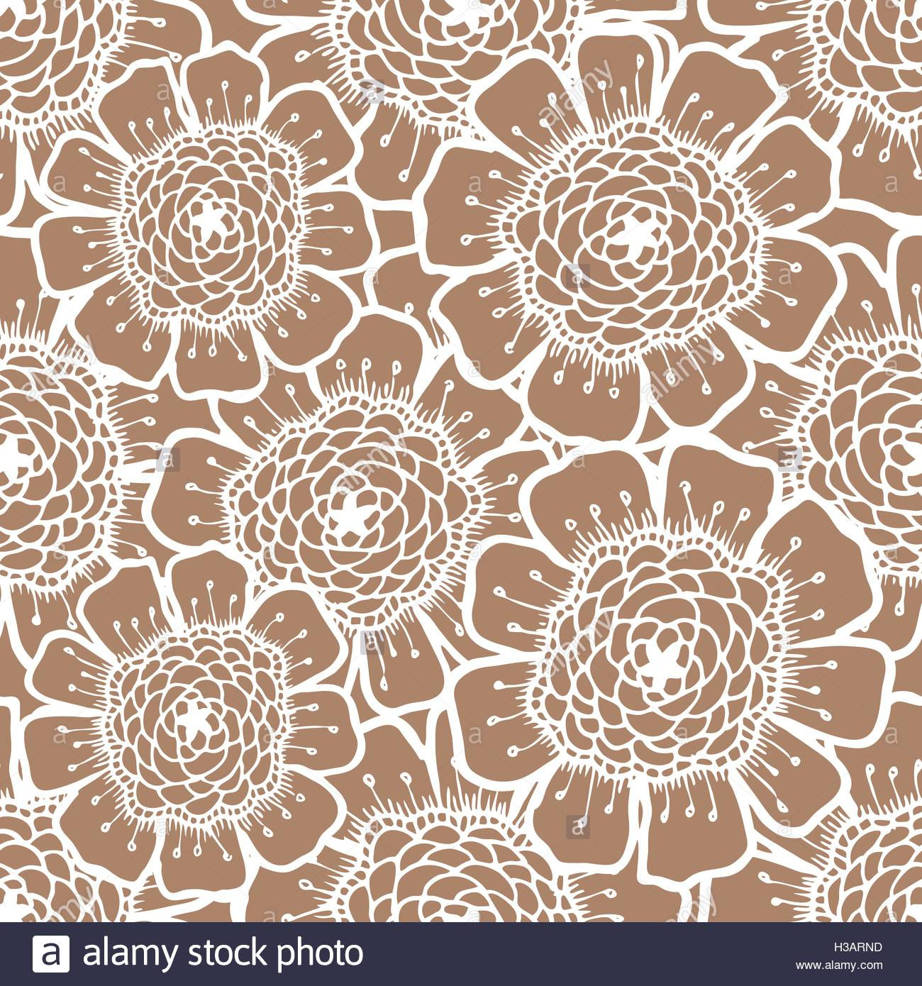 Ornate floral pattern with flowers Doodle sharpie background 1300x1390