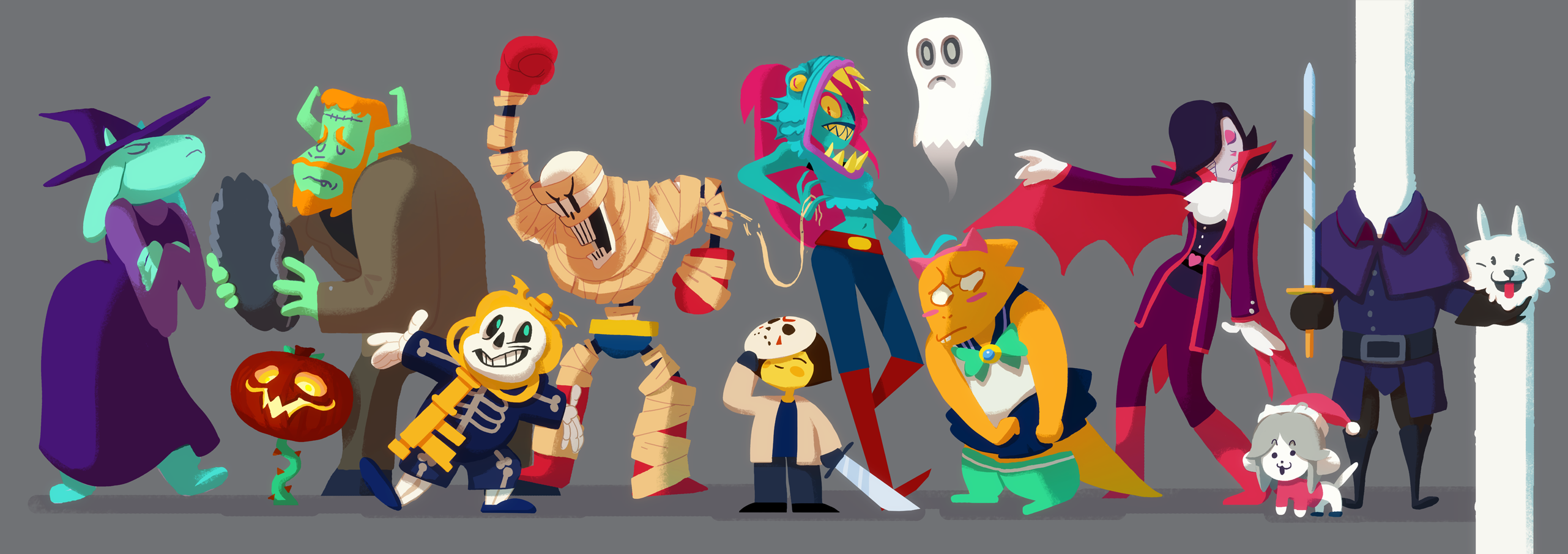 Undertale Halloween by Art Calavera on OkeyShare 2563x906