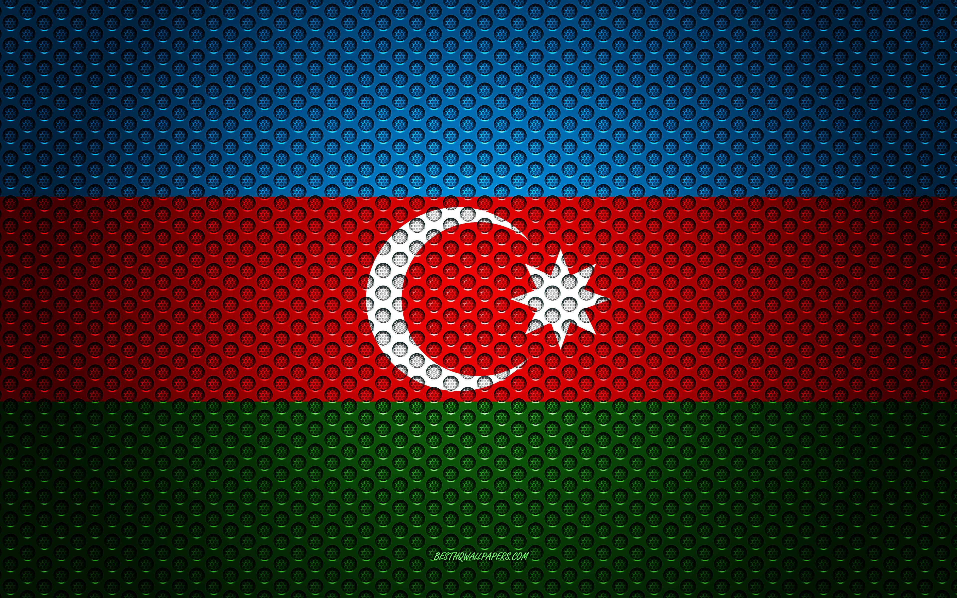 Download wallpapers Flag of Azerbaijan 4k creative art metal 3840x2400