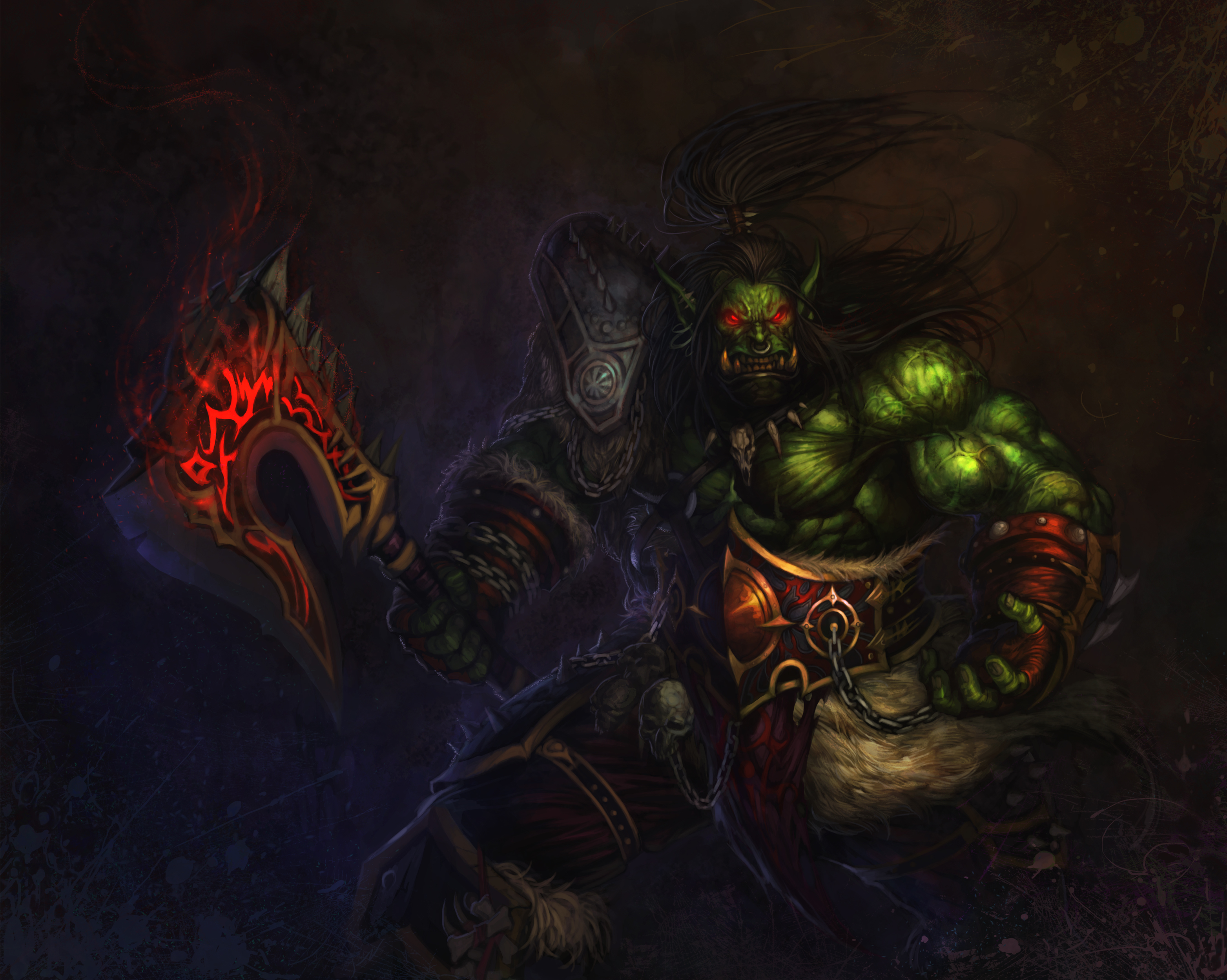 World of WarCraft WoW Orc Warrior Games Fantasy wallpaper 3127x2499 3127x2499