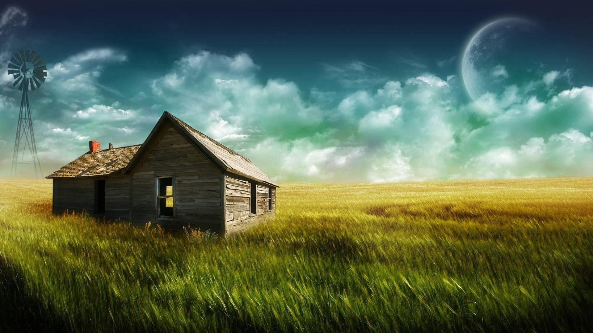 Farm house Full HD 1080p wallpaper Fantasy sky 1920x1080