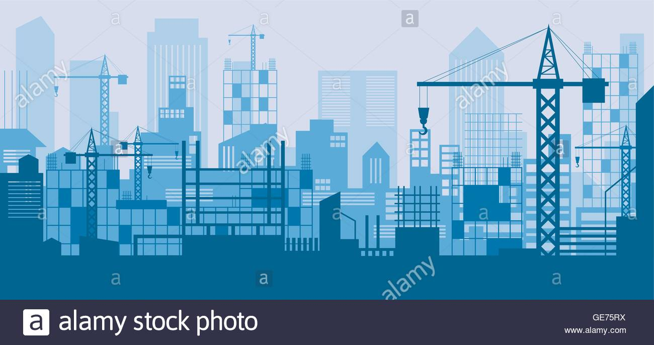 Construction Skyline Scene Blue Background Site City Urban 1300x686