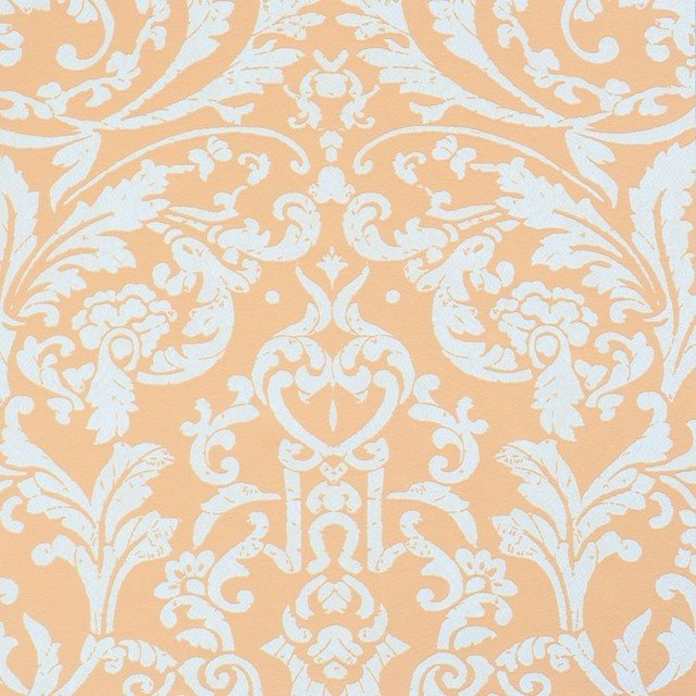 Orange Pink Ornamental Wallpaper Sample   Contemporary   Wallpaper 640x640