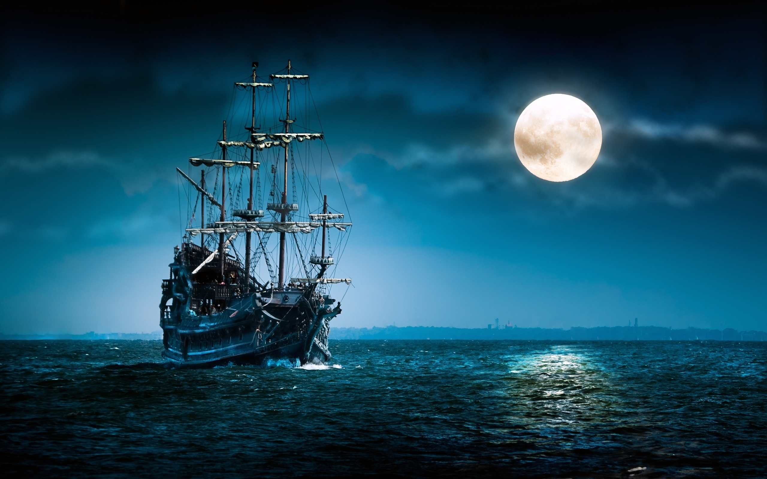 sailboat sea moon ship boat ocean night mood moon wallpaper background 2560x1600