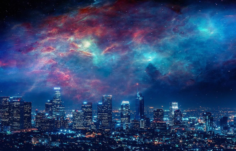 Wallpaper City Sky Beautiful Stars Space Art Galaxies 1332x850