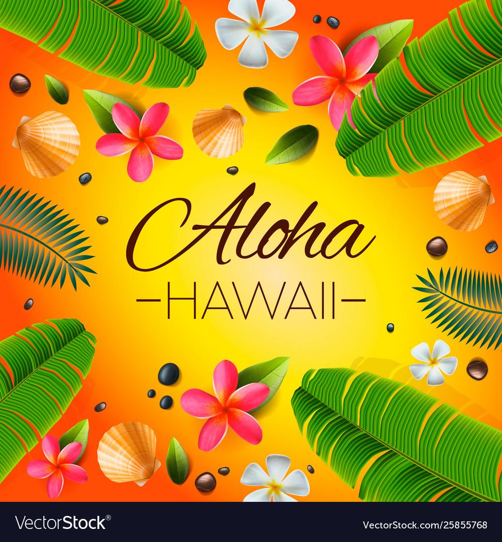 Aloha hawaii background tropical plants leaves Vector Image 1000x1080