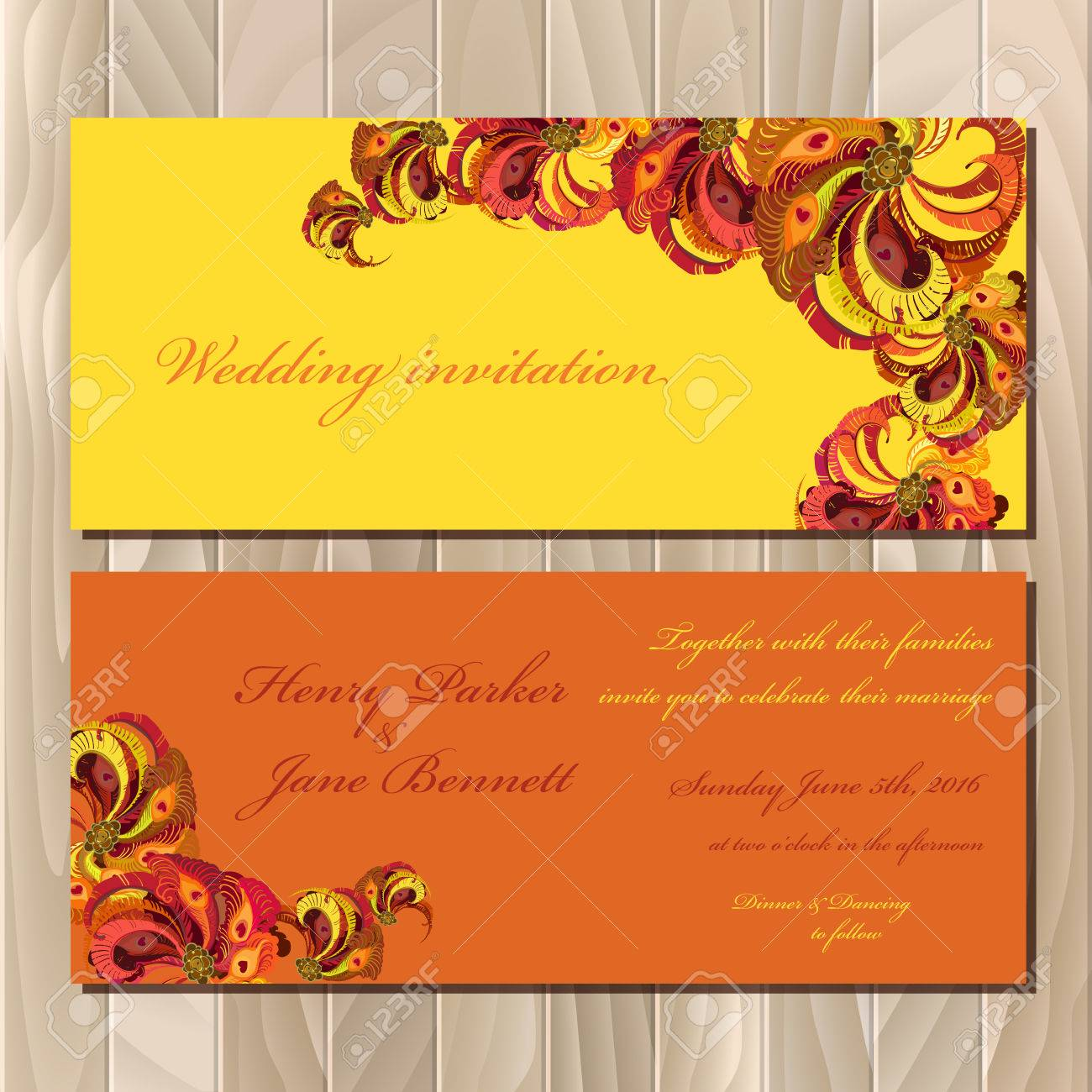 Wedding Invitation Card With Peacock Feathers Printable 1300x1300