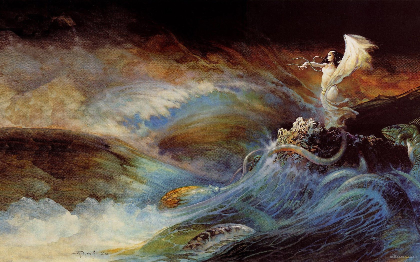 The Sea Witch By Frank Frazetta Widescreen Wallpaper Wallpaper 1680x1050