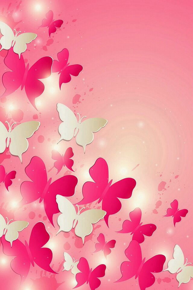 Pink an white butterflies Abstract White butterfly Abstract 640x960