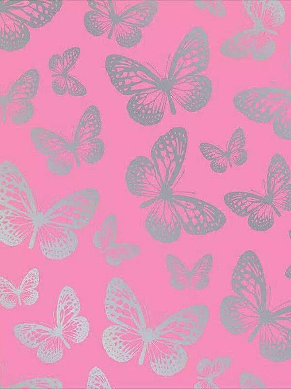 Pink silver butterflies phone wallpaper phone background lock screen 600x800