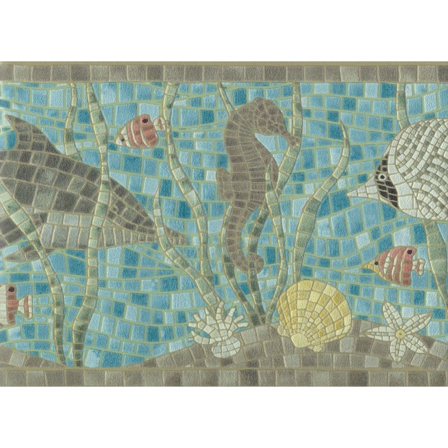 the Sea Faux Mosaic Tile Wallpaper Border   All 4 Walls Wallpaper 650x650