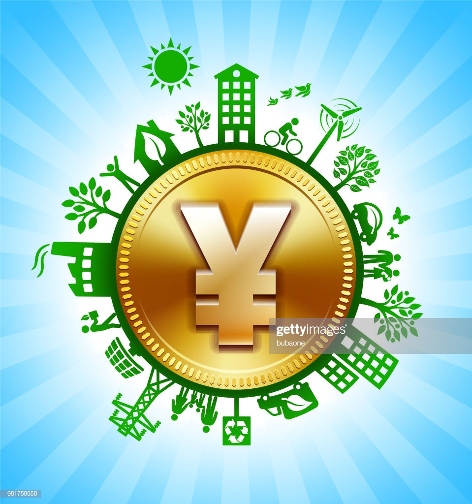 Gold Yen Sign On Environmental Conservation Background stock 959x1024