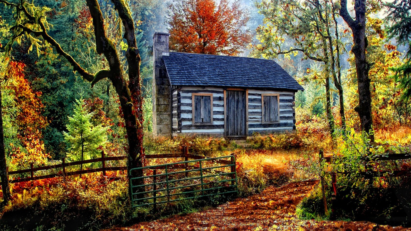 autumn cabin wallpaper desktop - photo #19