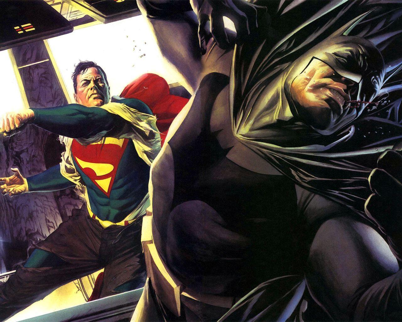 Batman and Superman desktop wallpaper 1280x1024