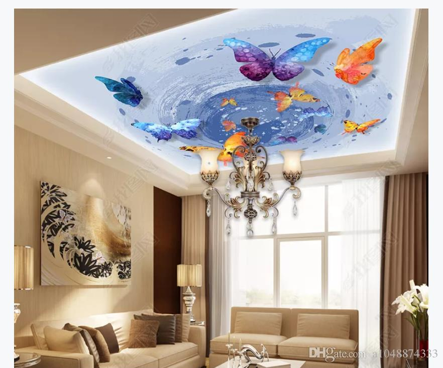 Customized 3D Zenith Photo Ceiling Background Mural Modern 882x733