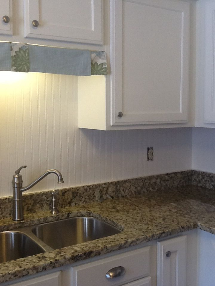 Using Allen Roth beadboard wallpaper from Lowes as a backsplash 720x960