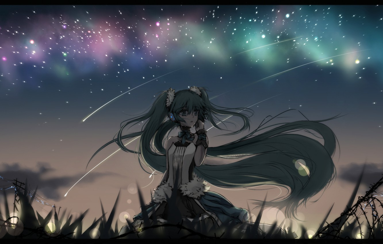 Wallpaper the sky girl stars night wire anime headphones 1332x850