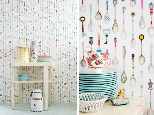 Look Teaspoons Wallpaper by Studio Ditte Kitchen Inspiration100 540x406