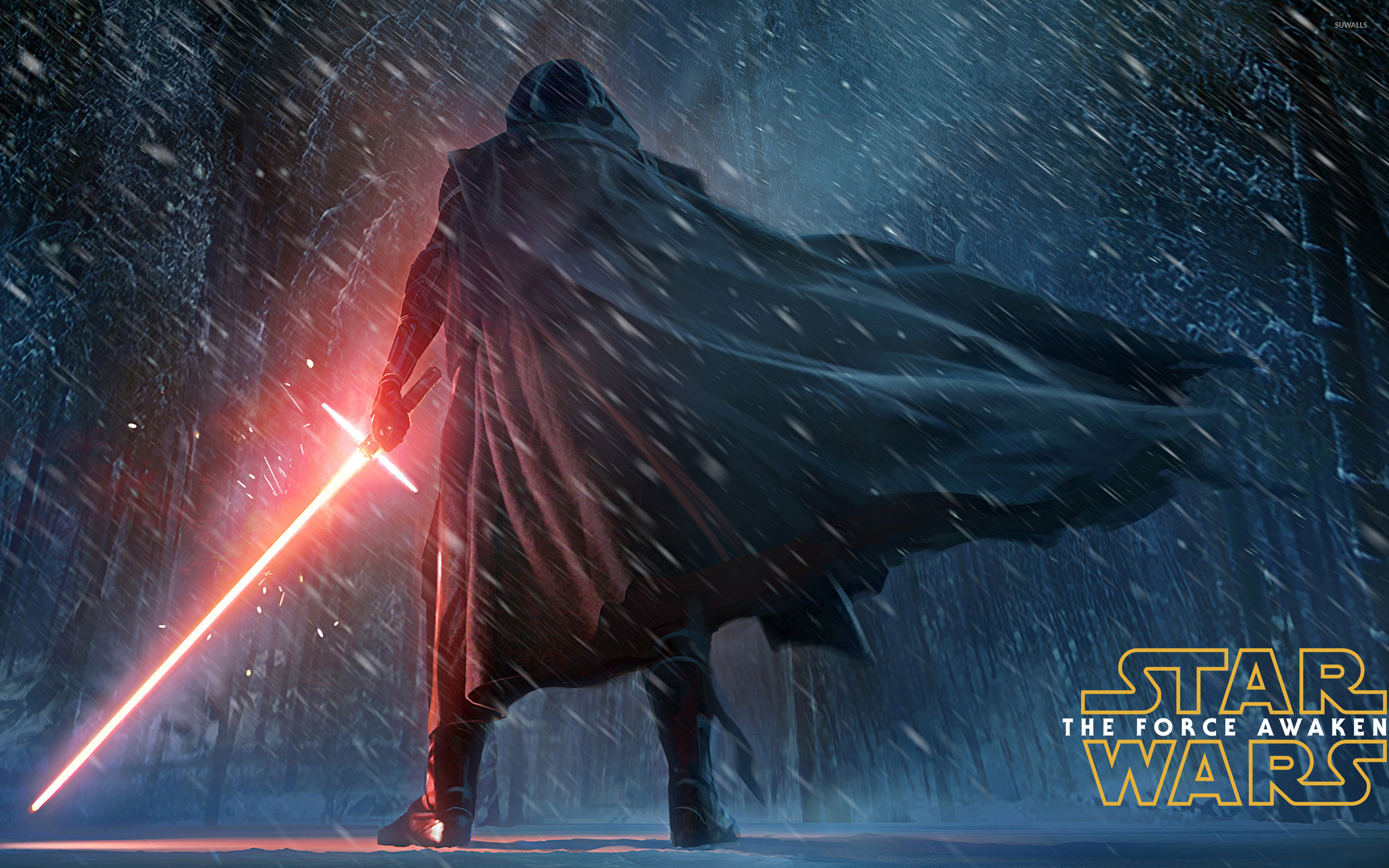 Kylo Ren in the snowy night   Star Wars The Force Awakens wallpaper 2560x1600