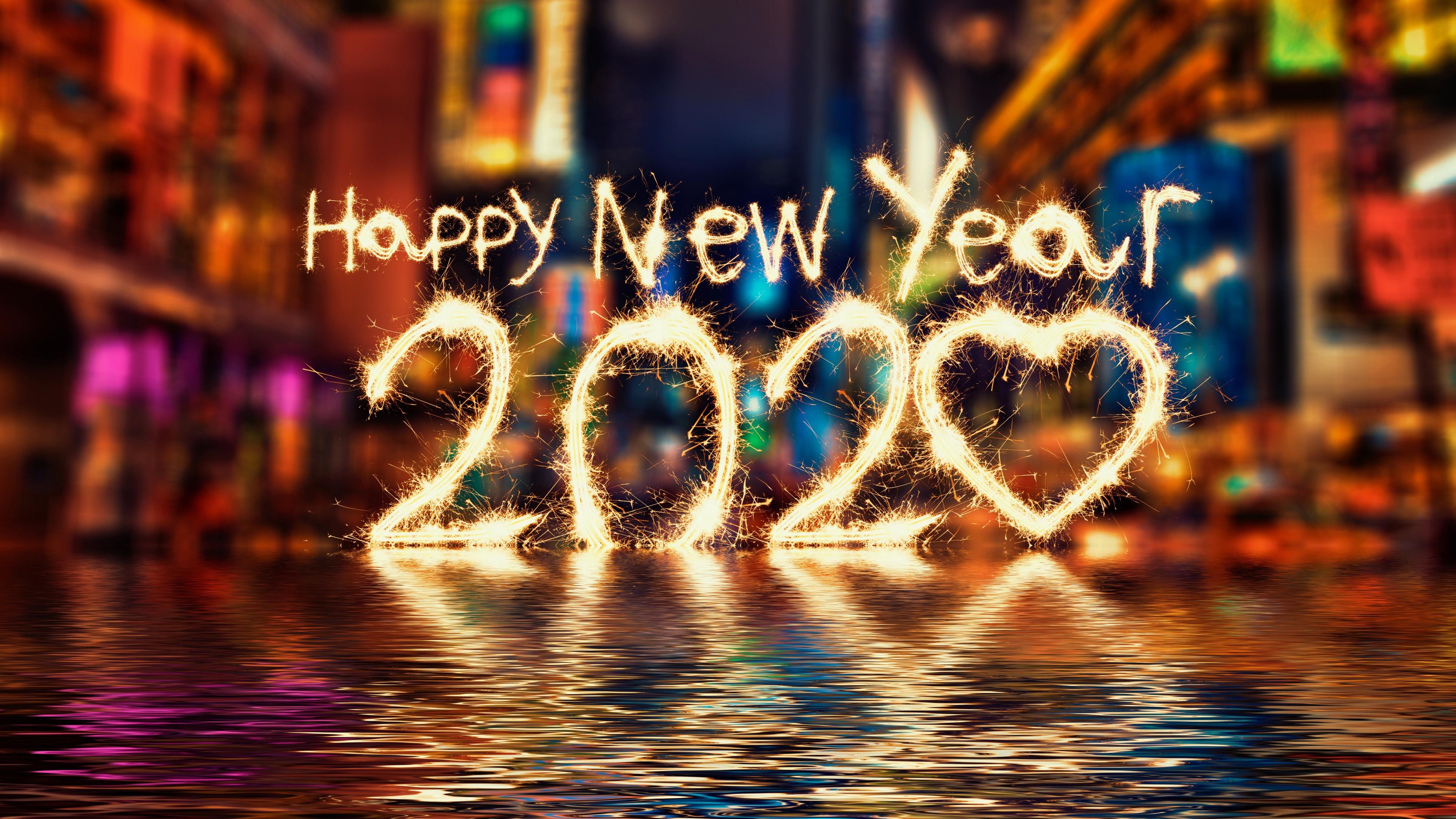 Happy New Year 2020 HD Wallpaper 4K for Desktop 3840x2160