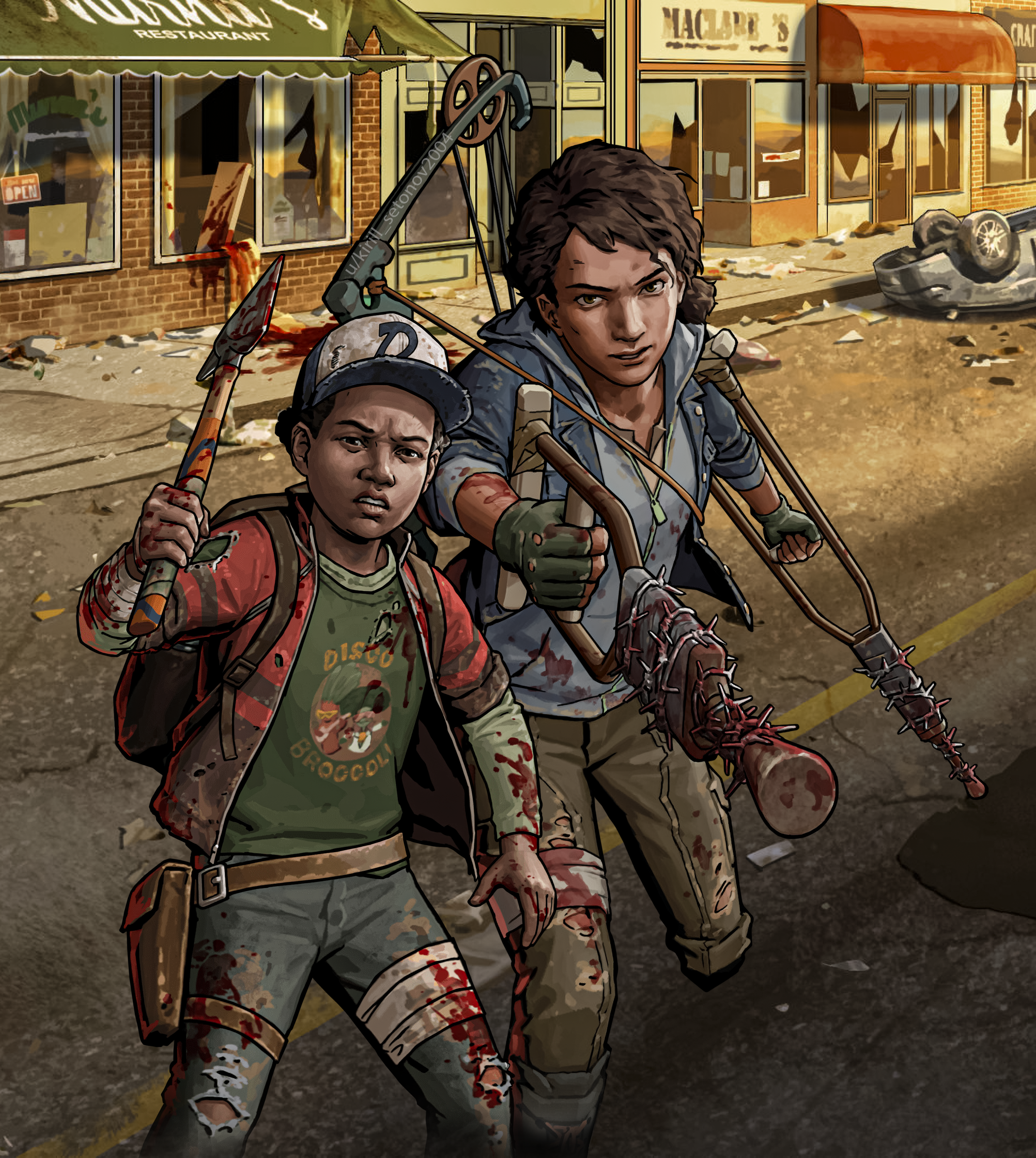 TWDRTS Clementine and AJ   Phone Wallpaper 2686x3000