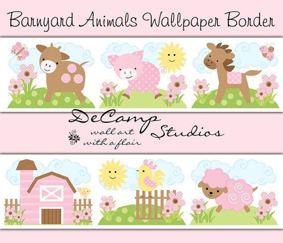 Pink Barnyard Animals Wallpaper Border Wall Decals for Baby Girl Farm 570x490