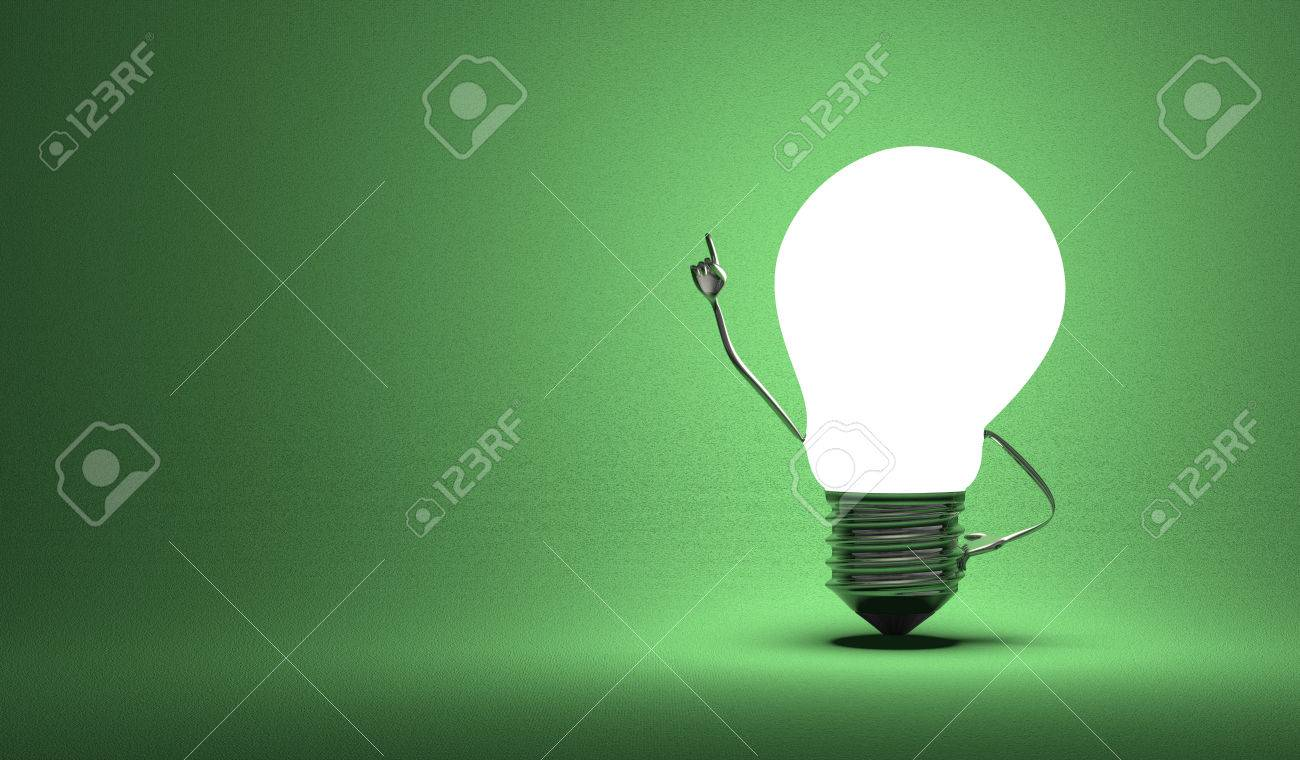 Glowing Light Bulb Character In Moment Of Insight On Dark Green 1300x760