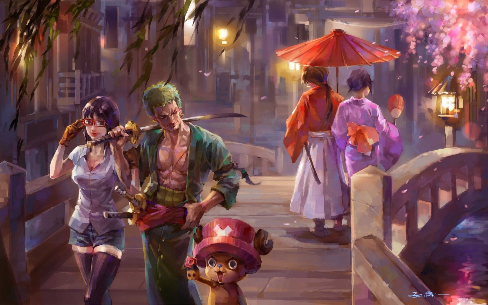 One Piece Tashigi Zoro Chopper Kenshin Himura Kaoru One 1680x1050
