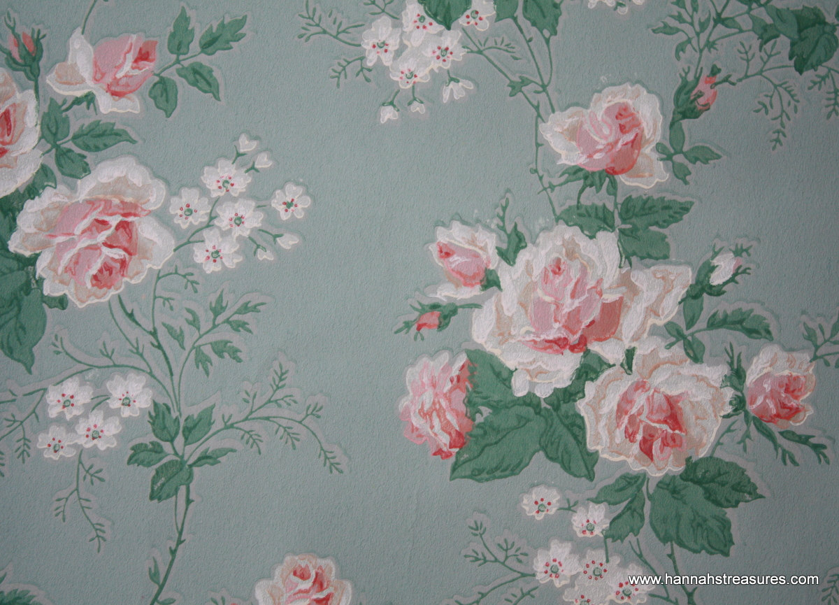 1940s Vintage Wallpaper Beautiful pink Roses by HannahsTreasures 1200x865