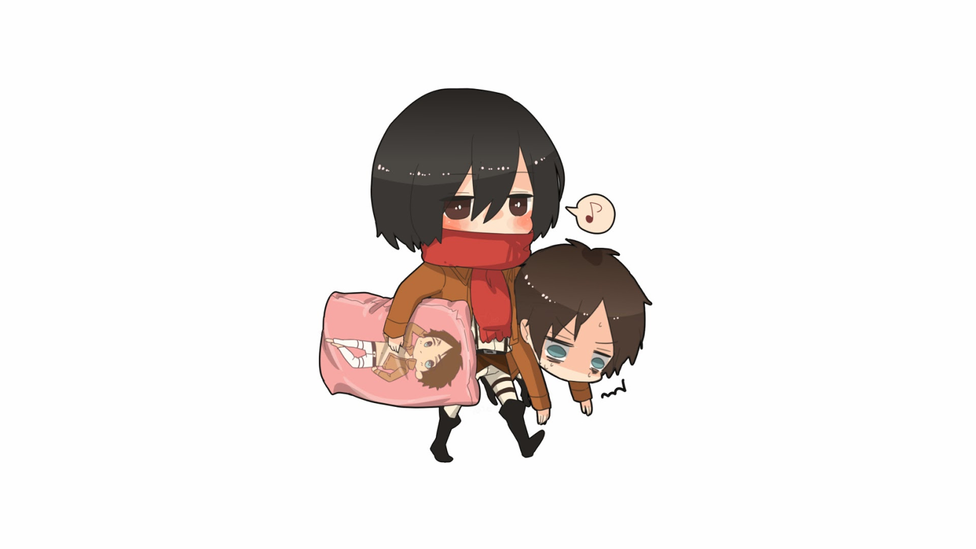 Mikasa adn Eren Chibi Anime 6r Wallpaper HD 1920x1080