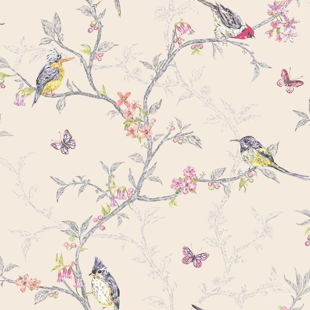Home Beige   98082   Phoebe   Birds   Trees   Blossom   Butterflies 1000x1000