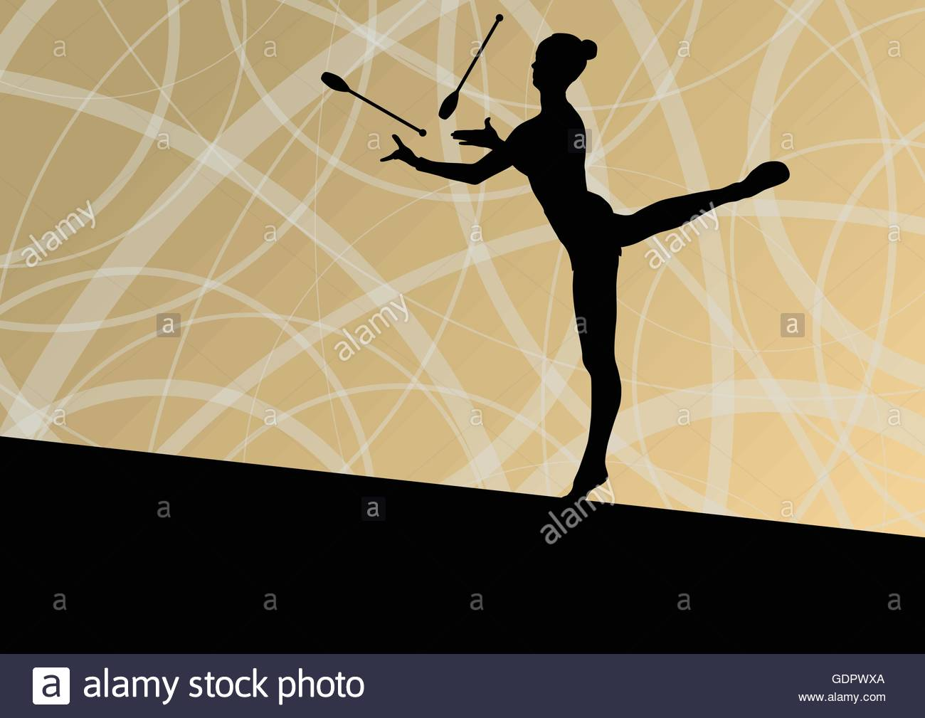 Active young girls calisthenics sport gymnasts silhouettes with 1300x1009