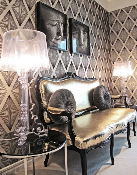 Hollywood glamour metallic settee wallpaper lamps art 450x575