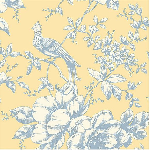 Bird Toile on Yellow   Historic Country French Victorian For Wall 570x570