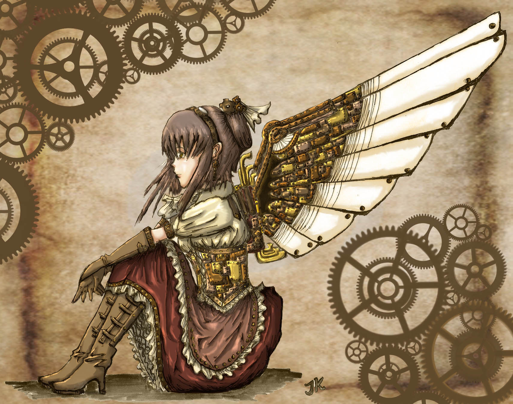 Steampunk mechanical girl angels wallpaper 1711x1348 62243 1711x1348