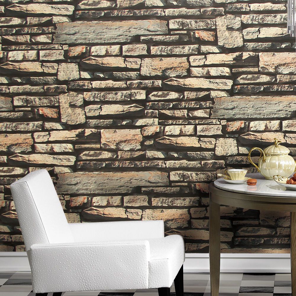 Vintage Faux Stone Wallpaper Grey 3D Brick for Removable Wall Decor 20 1000x1000