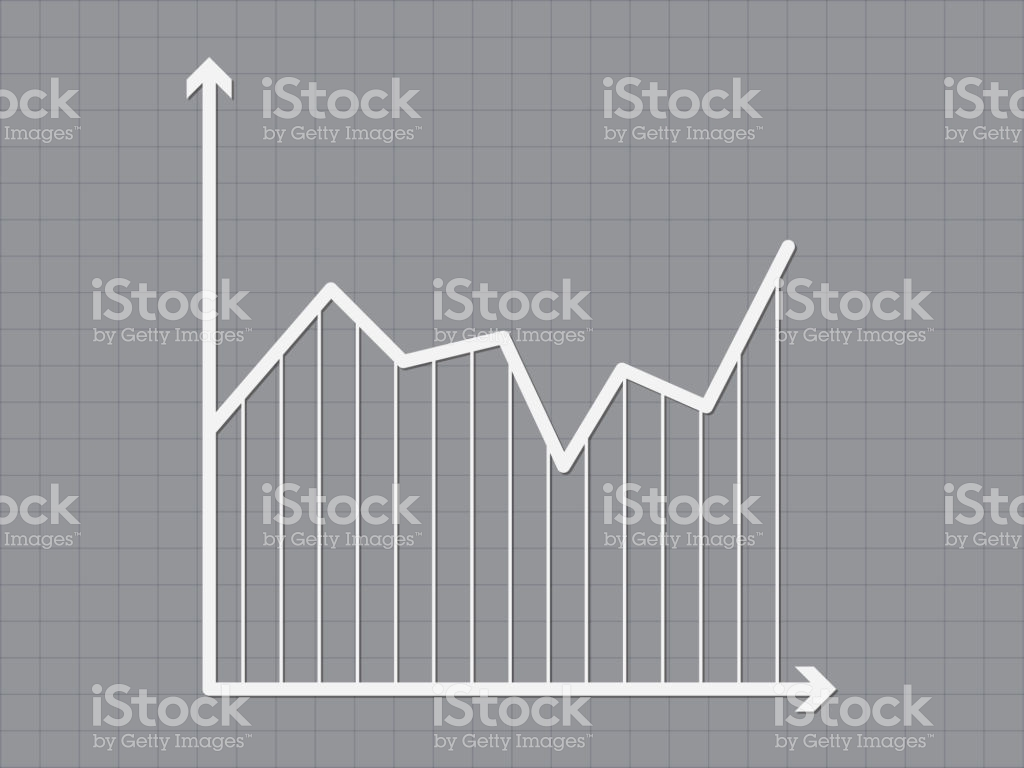 Business Trend Line Using Axis Lines On Dark Gray Background 1024x768