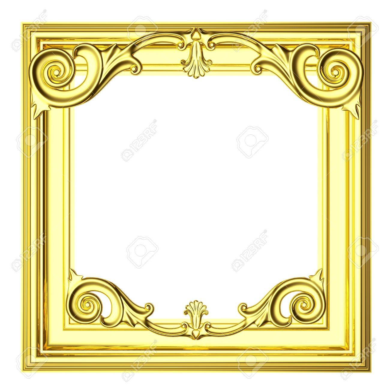 3d Gold Frame The Sculptural Form On A White Background Stock 1300x1300