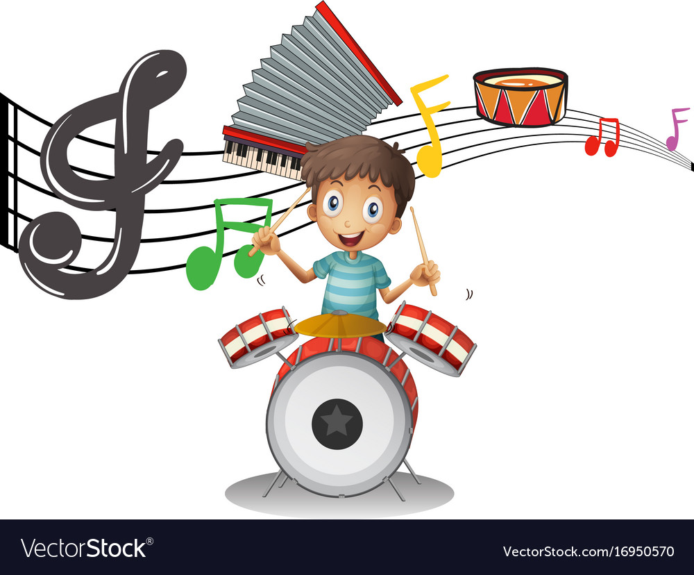 Boy plays drumset with music notes in background Vector Image 1000x828