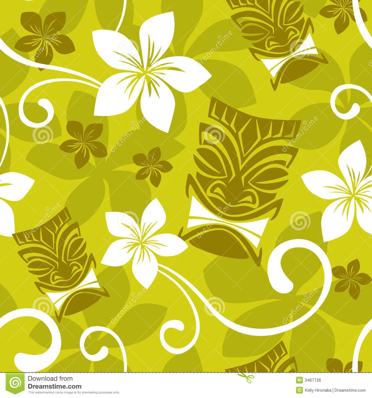 Luau Wallpaper Seamless Tiki Pattern 1300x1390