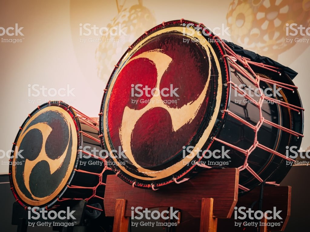 Taiko Drums Okedo On Scene Background Musical Instrument Of Asia 1024x768