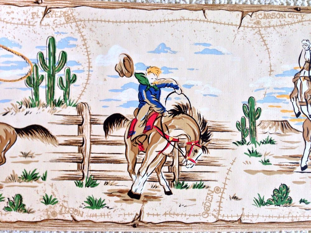 Old West Bucking Bronco Cattle Roping Cowboy Wallpaper Border eBay 1000x750