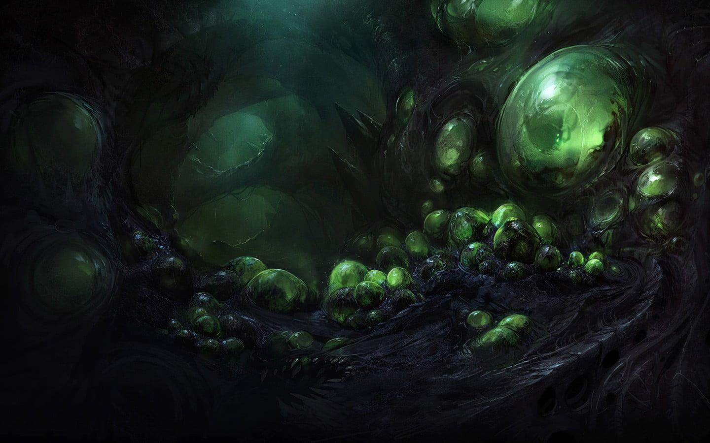 Green and black monster egg digital wallpaper Zerg StarCraft II 1440x900