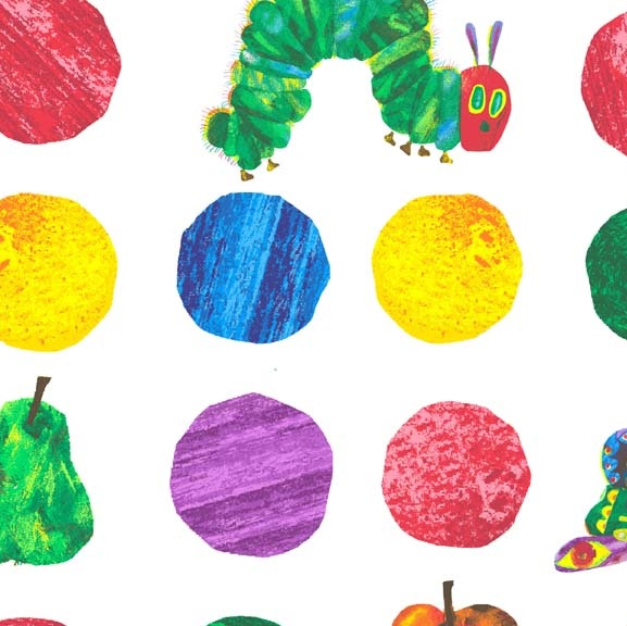 The Very Hungry Caterpillar LARGE SPOT Cotton Fabric 7232 X 577x576